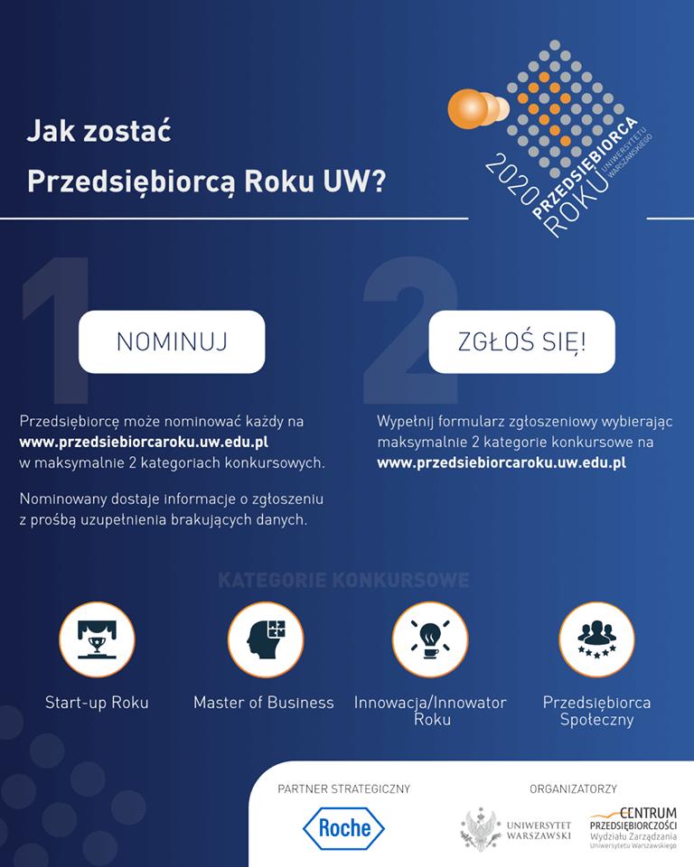Konkursu Przedsiebiorca Roku Uniwersytetu Warszawskiego 4 edycja